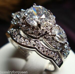 image is loading stunning cz vintage style women engagement wedding rings - Vintage Wedding Rings Sets