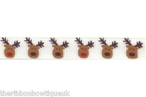 10mm-3-8-034-wide-WHITE-REINDEER-GROSGRAIN-RIBBON-XMAS-RUDOLPH