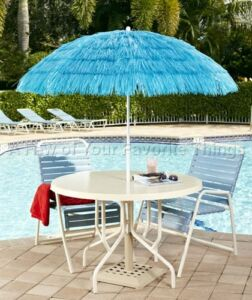 Blue Tiki Hawaiian Tropical Theme Umbrella Outdoor Deck