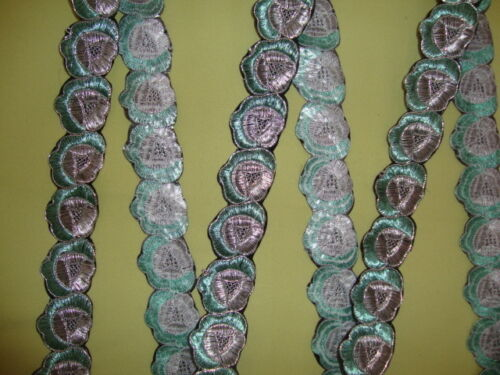 """1Yd Iron-On Embroidered Trim 1.5/"""" wide Woven Border Jacquard Sew Ribbon T107"""