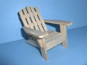 Miniature adirondack chair unfinished wood outdoor patio yard fairy garden