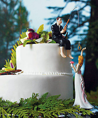 Hooked on Love Fishing Couple Wedding Cake Topper Customized Hair for 24BRENDA