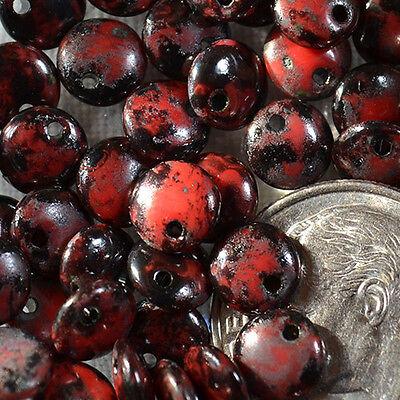 (50) Czech 6mm Glass Lentil - Opaque Red - Black Picasso