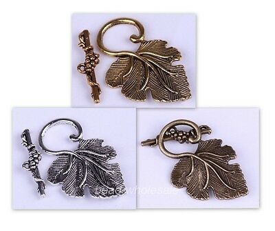 10sets silver/golden/mixed  leaf toggle clasp for making Jewelry