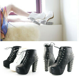 Womens-Platform-Pumps-Lace-Up-Studded-Spike-Punk-High-Heel-Ankle-Boots-Shoes-013