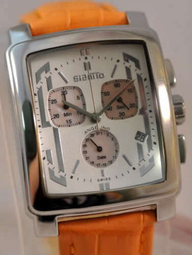 New Mens Giantto Angelino Chronograph Orange Leather Watch
