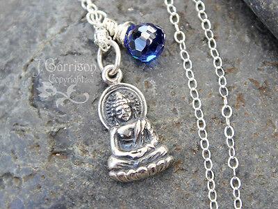 Tiny Peaceful Buddha & sapphire c.z. gemstone Necklace - sterling silver - zen