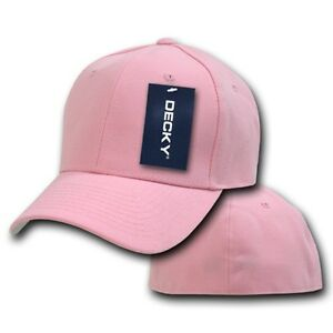 Pink-Fitted-Plain-Solid-Blank-Acrylic-Baseball-Ball-Cap-Caps-Hat-Hats-8-SIZES