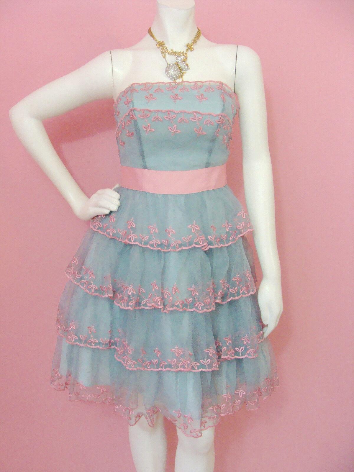 Betsey Johnson Evening Von Trapp Strapless Dress Blue Pink ...