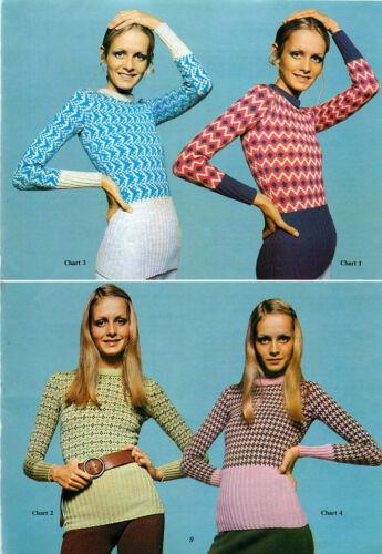 Vintage Machine knitting pattern-Twiggy models 1960s mod skinny rib jumpers