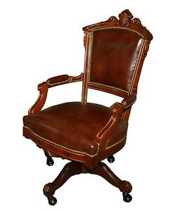 Image Is Loading Antique Victorian Swivel Chair In Brown Leather 1800