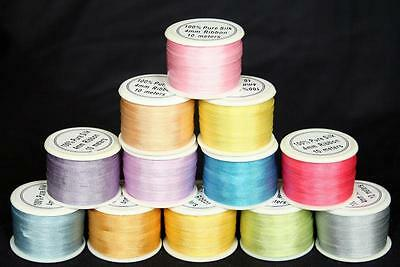 NEW 120M PASTEL SHADES 7MM PURE SILK EMBROIDERY RIBBON