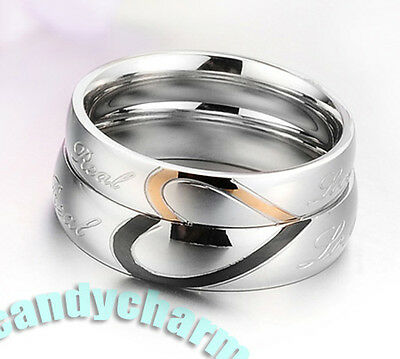 Made in Korea REAL LOVE 2-TONE HEART Couple Lovers Rings fine Stainless Steel