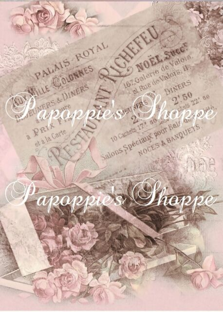 Fabric Block French Pink Chic & Shabby Roses Victorian Altered Image Reproduced