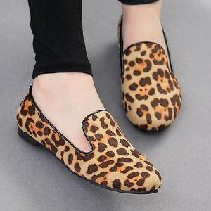 Women-Animal-Leopard-Print-slip-on-Loafers-ballet-Flat-Shoes-brown-Tan-Cheetah