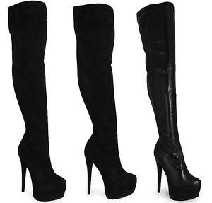 WOMENS-LADIES-BLACK-OVER-KNEE-THIGH-HIGH-STILETTO-HEEL-PLATFORM-PLAIN-BOOTS-3-8
