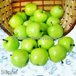 50 pcs fake green mini apples plastic artificial fruit house party
