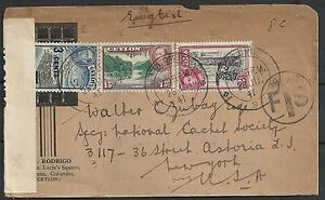 Ceylon 1941 cens Airmailcover Colombo to New York