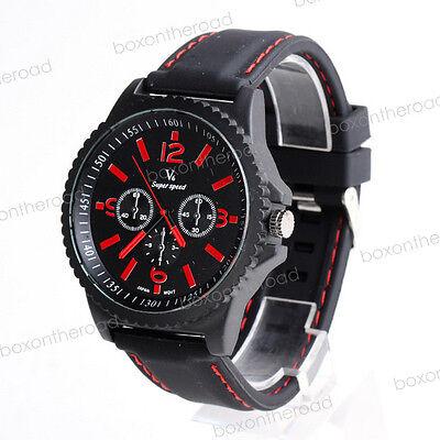 New Fashion Red Dial Silicone Rubber Men Sport Unisex Analog Quartz Wrist Watch