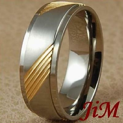 8MM Mens Titanium Ring 14K Gold Wedding Band Bridal Jewelry Brushed Size 6-13