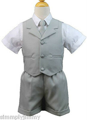 New Baby, Boy & Toddler Wedding Eton Vest Shorts Suit New born to 4T Silver Gray