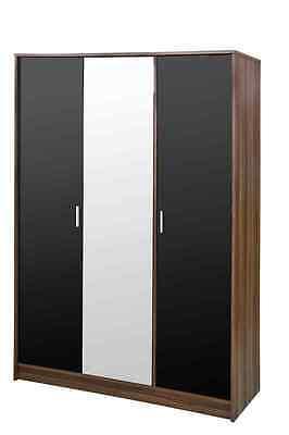 High Gloss Bedroom Furniture Range Wardrobe Chest Bedside Black/Walnut
