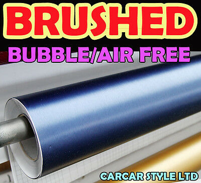 【Brushed BLUE】750mm x 2 Meter Vinyl Flex Wrap Sticker【Bubble Free】4 car