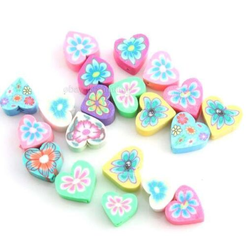 100pcs 110945 Charms Colorful Assorted Heart Flowers FIMO Polymer Clay Beads