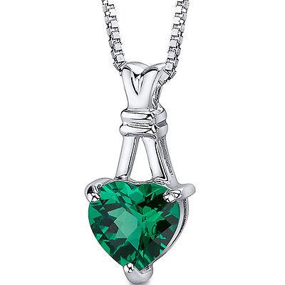 3 CT Heart Green Emerald Sterling Silver Pendant
