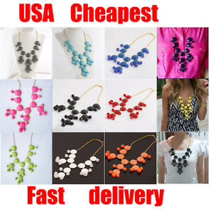 New-Women-Bubble-Bib-Statement-Fashion-Chain-Necklace-Choose-From-11-Colors
