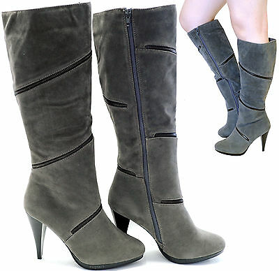 New women's shoes knee high fashionable boots high heel suede like gray