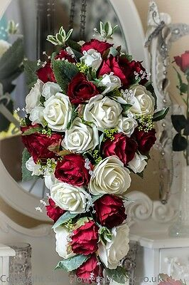 WEDDING FLOWERS Brides Teardrop Bouquet in Red and Ivory with Grooms Buttonhole
