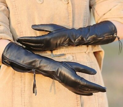 Women's long GENUINE Kid leather opera evening gloves with zip