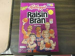 KELLOGG'S RAISIN BRAN EMPTY CEREAL BOX 20 OZ 1992 USA W/BIRD/MALONE/ROBINSON