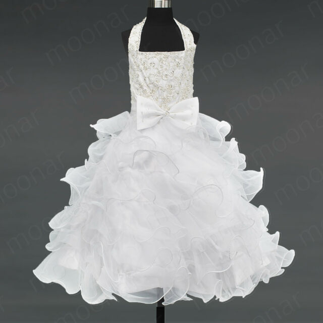 Kids Girls White Shinning Pageant Princess Formal Dance Gown Dress 2 4 6 8 10 12