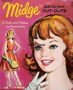 VINTAGE UNCUT ORIGINAL SIZE 1963 'MIDGE' PAPER DOLLS~#1 REPRODUCTION~ADORABLE!