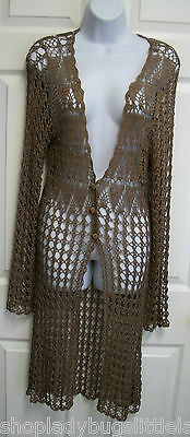 BCBG MAXAZRIA SHEER BROWN CROCHET KNIT LONG DUSTER CARDIGAN SWEATER JACKET M
