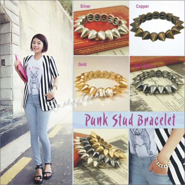 New Trendy Hot Cool Rock Punk Studs Spike Rivets Elastic Stretch Bangle Bracelet