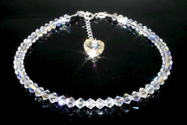 Sterling Silver Sparkly Crystal Heart AB Anklet Made With SWAROVSKI ELEMENTS