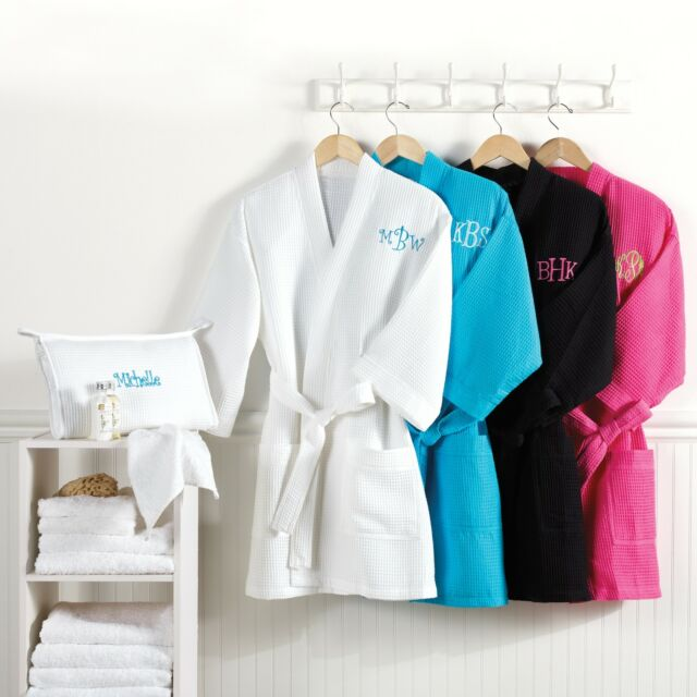 Knee Length Waffle Weave Spa / Bath Robe with Carry Case + Option to Personalize
