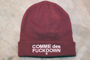 Comme-Des-FUCKDOWN-Asap-Rocky-Wooly-Beanie-Hat-Burgundy-Black-Knitted-Ribbed