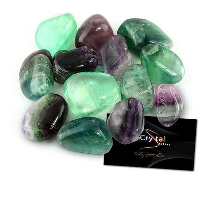 "Crystal Allies Materials: 1/2lb Bulk Tumbled Fluorite Stones Large 1"" Natural"