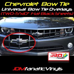2x 5x10 Quot Matte Flat Black Bow Tie Emblem Overlays Decal