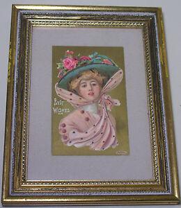 Antique 1908 P. Sanders N.Y. Post Card Gibson Girl Look Best Wishes Framed Art