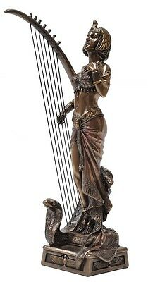 Veronese Bronze Figurine Art Deco Style Egyptian Queen Cleopatra playing harp