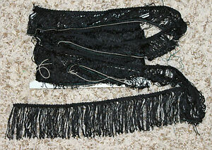 "7 Yards New Vintage Black Fringe Trim Sew On 3.5"" Rayon Long Sewing Decor UNUSED"