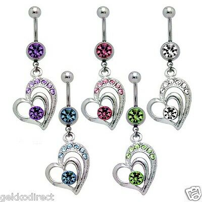 Cubic Zirconia Heart Dangle Belly Button Bar 1.6mm x 10mm