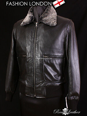 PILOT Black Men's Fur Collar Lambskin Leather Cool Short Aviator Bomber Jacket