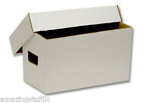 10-BCW-Storage-Boxes-Each-Holds-150-45-Rpm-Record-200lb-Cardboard-Holder-White