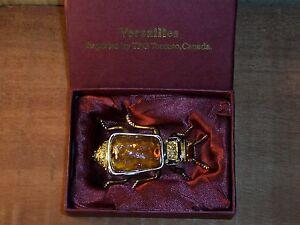 Vintage Versailles Brown Enamel Beetle Shaped Ring Box By